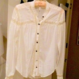 Free people embroidered blouse with crochet